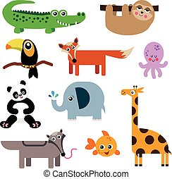 A Set of Cute Animal Icons
