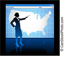 Web browser internet concept with US map