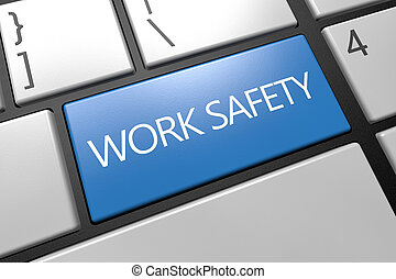 Work Safety - keyboard 3d render illustration with word on...