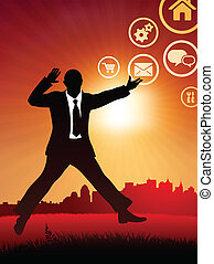 excited businessman on internet sunset background and skyline