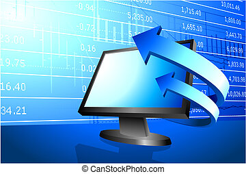 computer with arrows on stock market background