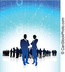 negócio, executivos, global, financeiro, equipe
