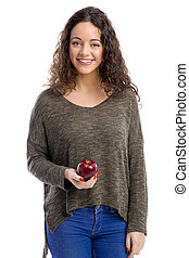 Eat a apple every day - Portrait of a beautiful woman...