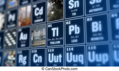 Periodic table of elements and laboratory tools Science...