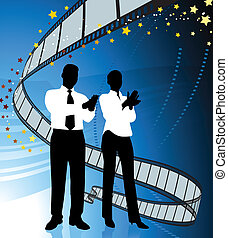Business people on film premier background