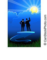 Business direction background with two people