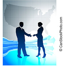 Business greeting with US map