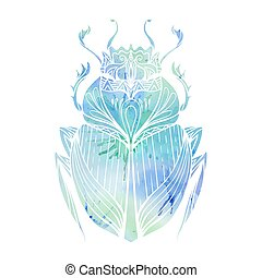 Hand drawn vintage scarab with blue watercolor background. Insect with doodle pattern. Vector element for tattoo sketch, printing on T-shirts, postcards and your design
