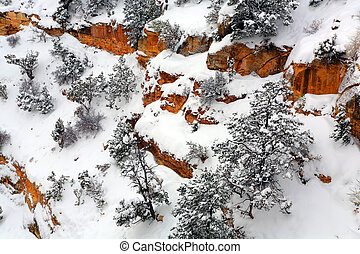 Grand Canyon Walls in Winter - Snow covered Mother Point...