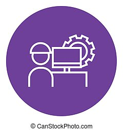 Computerized production line icon - Industrial worker with...