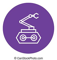 Industrial mechanical robot arm line icon. - Industrial...