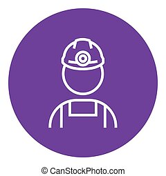 Coal miner line icon - Coal miner thick line icon with...