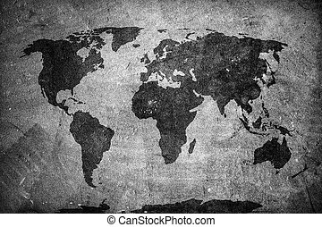 Retro world map on concrete, plaster wall Vintage, grunge...