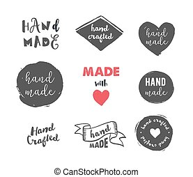 Handmade, crafts workshop, made with love icons and badges