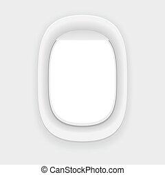 Aircraft window. Plane porthole isolated.