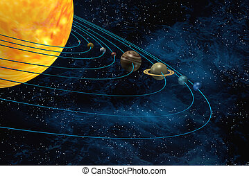 Solar system 3d illustration sun and planets on starfield...