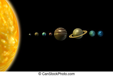 Solar system 3d illustration sun and planets on black...