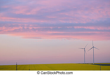 Aeolian field and wind turbines at sunset