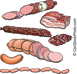 Meat products on a white background - Set sausages, vector...