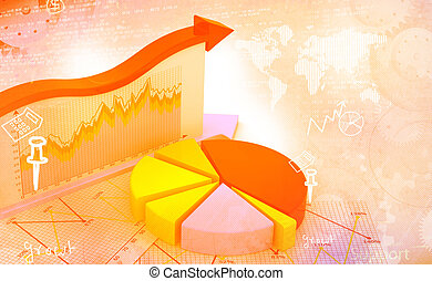 Financial graphs and charts shows business growth