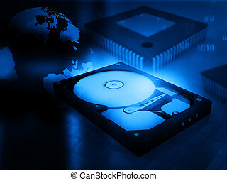 open computer hard disk drive on digital background