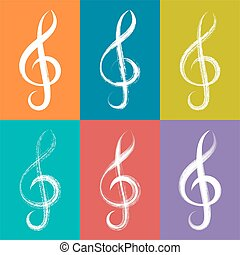 White vector treble clef icons