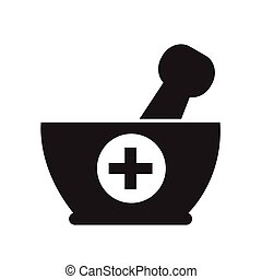 Mortar and pestle icon Illustration design