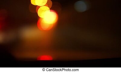 light focus - Defocused night traffic lights, Konya