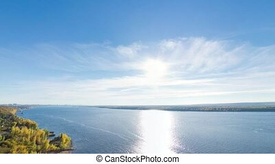 Panoramic shot of Volga river from Bald Mountain, Samara,...