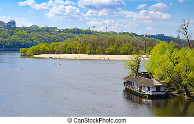Panorama Dnieper river - Panorama of Kiev - capital of...