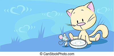 kitten sitting in a bowl with milk and mouse looking at him...