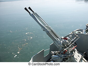 machine gun on warship