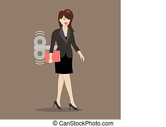 Business woman with wind-up key in her back Business concept...