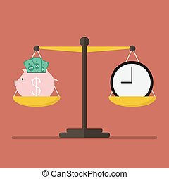 Piggy bank and Time balance on the scale