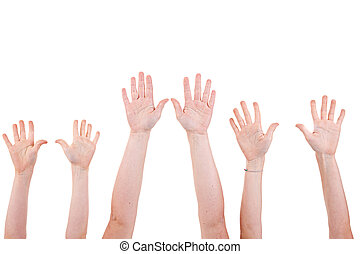 Many children hands high up