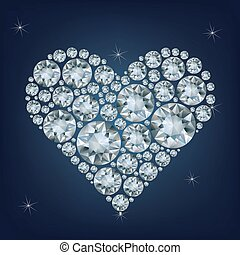 Casino poker element heart made a lot of diamonds
