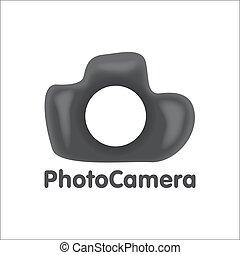 Art logo DSLR photo camera vector illustration