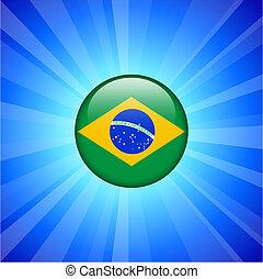 Brazil Flag Icon on Internet Button