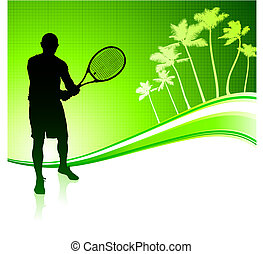 Tennis Player on Tropical Abstract Background