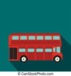 London double decker red bus icon, flat style - London...