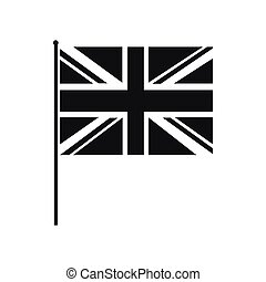 Great Britain flag with flagpole icon in simple style on a...