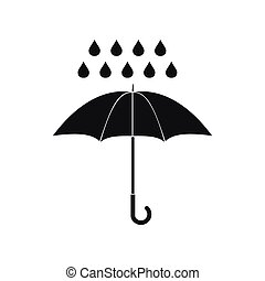 Umbrella and rain drops icon, simple style - Umbrella and...