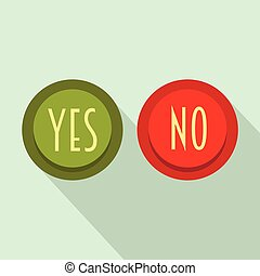 Yes and No button icon, flat style