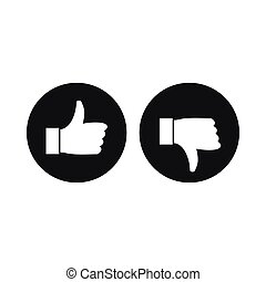 Thumbs up and down icon, simple style