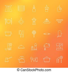 Kitchen Appliances and Cooking Line Icons Set over Blurred...