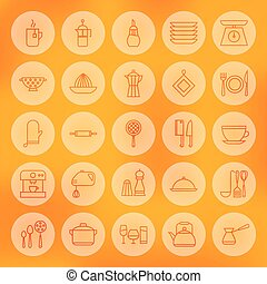 Line Circle Cooking Food and Utensil Icons Set Vector...