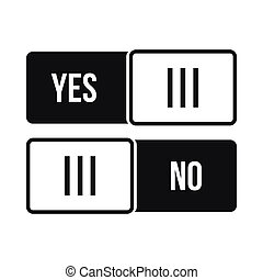 Yes and No button icon in simple style