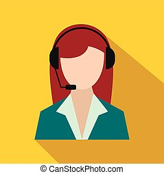 Support phone operator in headset icon, flat style - Support...