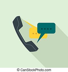 Handset with speech bubbles icon, flat style - Handset with...