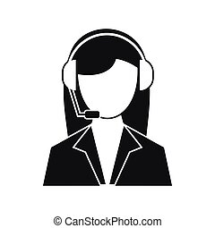 Support phone operator in headset icon in simple style on a...